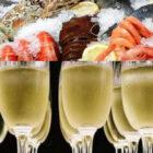 Acquisti alimentari, pesce e bollicine